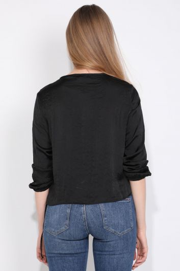 Women Half Zipper Blouse Black - Thumbnail