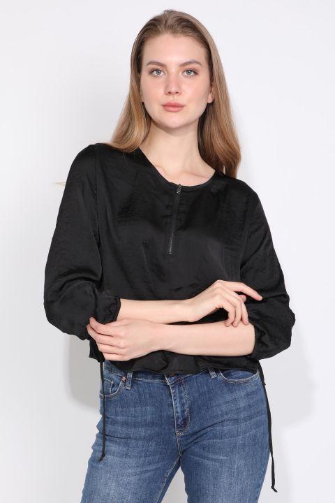 Женская Блузка с Половиной Молния Черный
