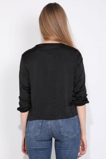 Женская Блузка с Половиной Молния Черный - Thumbnail