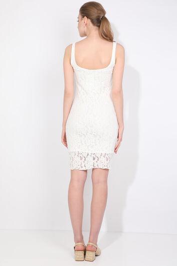 Женское кружевное платье с ремешками - Thumbnail