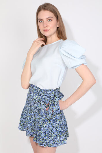 MARKAPIA WOMAN - Women's Ice Blue Balloon Sleeve Blouse (1)
