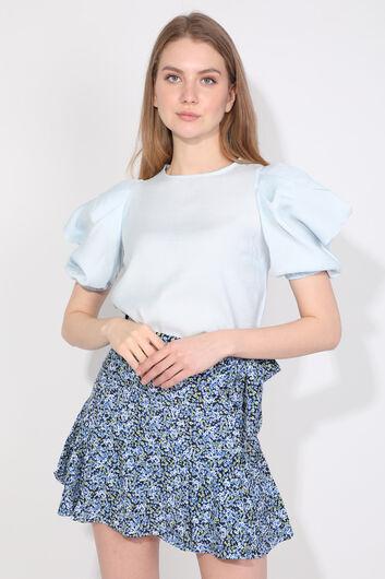 Женская синяя блуза с воздушными шарами - Thumbnail