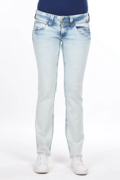Women's Ice Blue Low Rise Jean Trousers