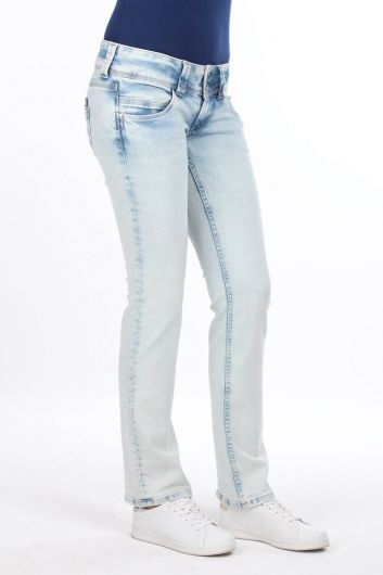 MARKAPIA WOMAN - Women's Ice Blue Low Rise Jean Trousers (1)