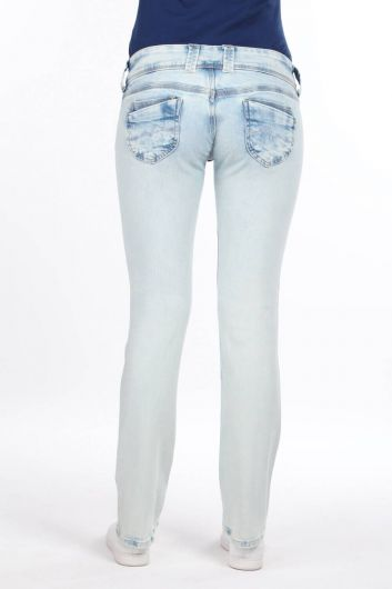 Women's Ice Blue Low Rise Jean Trousers - Thumbnail