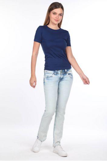 Женские джинсовые брюки Ice Blue с низкой посадкой - Thumbnail