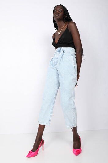 BLUE WHITE - Women's Ice Blue Pleated Mom Jeans (1)