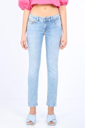 بنطلون جينز نسائي بجيب أزرق ثلجي مفصل - Thumbnail