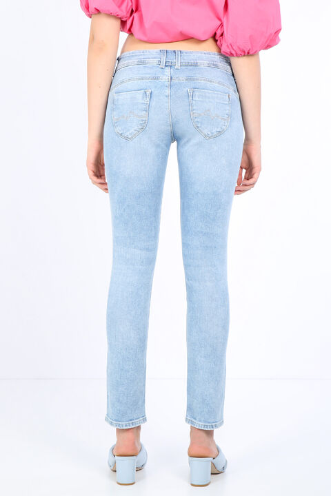 بنطلون جينز نسائي بجيب أزرق ثلجي مفصل