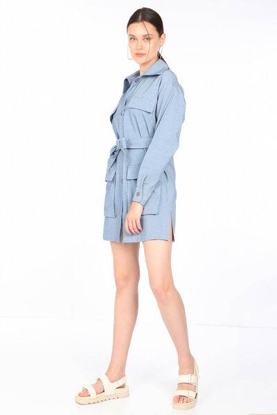 MARKAPIA WOMAN - Женское платье-пиджак с поясом цвета индиго и карманами (1)