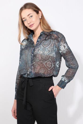 Women's Indigo Patterned Chiffon Shirt - Thumbnail