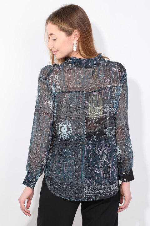 Women's Indigo Patterned Chiffon Shirt