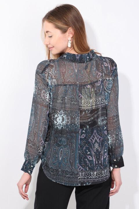 Женская шифоновая рубашка с рисунком индиго