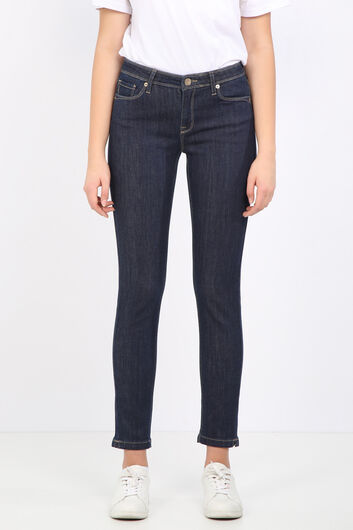 Женские прямые джинсовые брюки цвета индиго - Thumbnail
