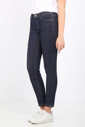 BLUE WHITE - Женские прямые джинсовые брюки цвета индиго (1)