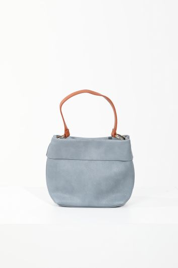 Women's Blue Leather Hand and Shoulder Bag - Thumbnail