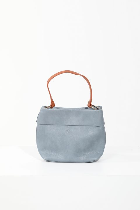 Women's Blue Leather Hand and Shoulder Bag