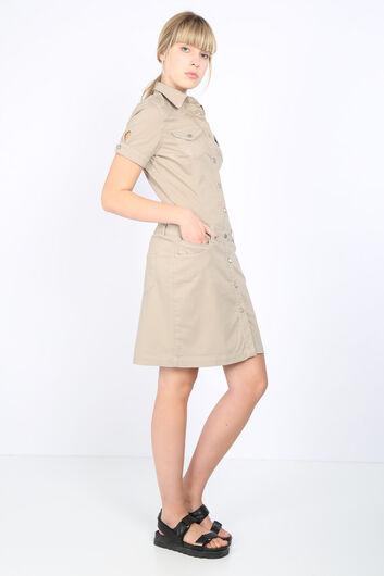 BLUE WHITE - Women Jean Dress Beige (1)