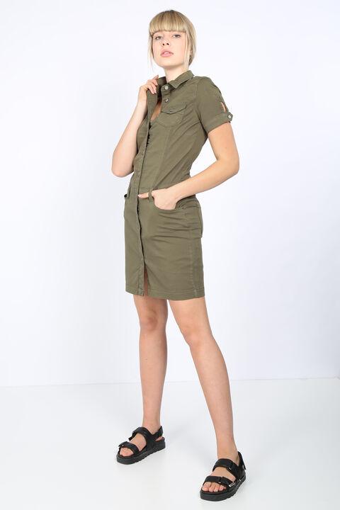Женское джинсовое платье хаки