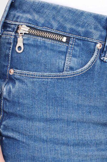 Женская Джинсовая Короткая Юбка Голубая - Thumbnail