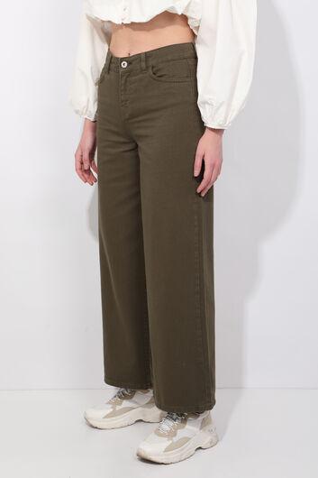 BLUE WHITE - Женские широкие джинсовые брюки цвета хаки (1)