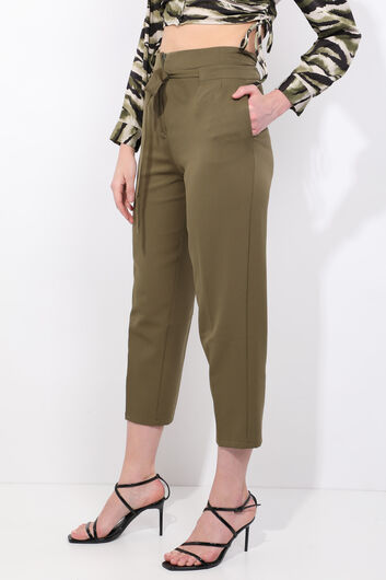 MARKAPIA WOMAN - Women's Khaki Belted High Waist Fabric Trousers (1)
