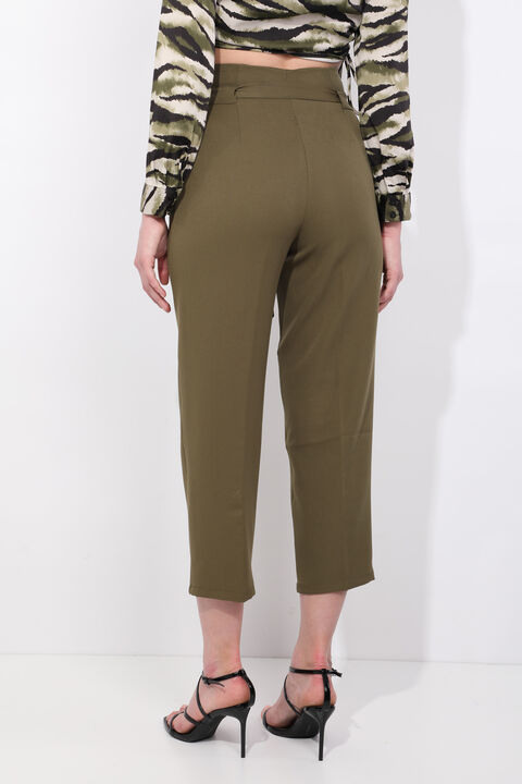 Women's Khaki Belted High Waist Fabric Trousers