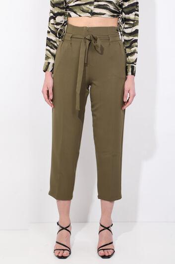 Женские брюки цвета хаки с поясом с высокой талией - Thumbnail