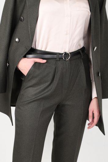 Women's Khaki Blazer Suit - Thumbnail