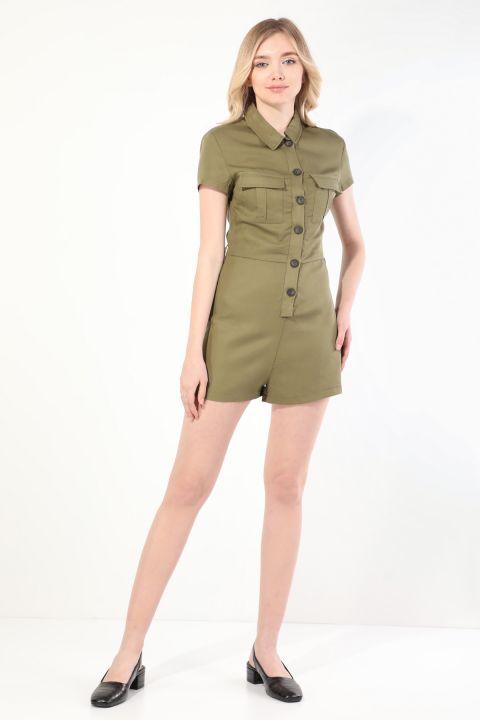 Women's Khaki Buttoned Jumpsuit Shorts