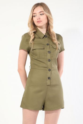 MARKAPIA WOMAN - Women's Khaki Buttoned Jumpsuit Shorts (1)