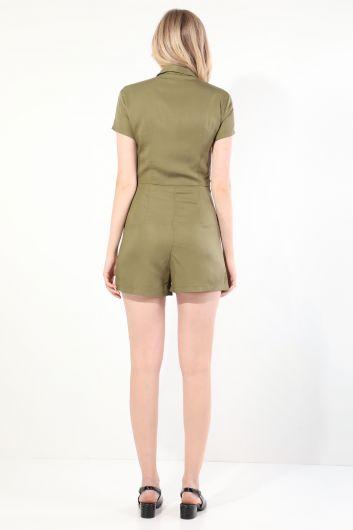 Women's Khaki Buttoned Jumpsuit Shorts - Thumbnail