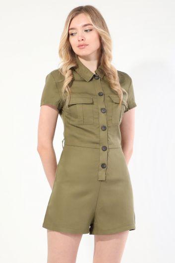 MARKAPIA WOMAN - Женский комбинезон цвета хаки с шортами на пуговицах (1)