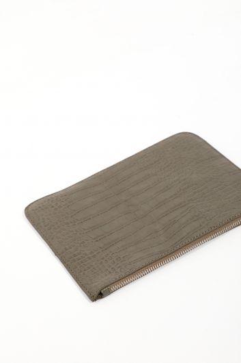 حقيبة يد كاكي مزخرفة تمساح نسائية - Thumbnail