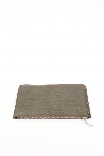 MARKAPIA WOMAN - حقيبة يد كاكي مزخرفة تمساح نسائية (1)
