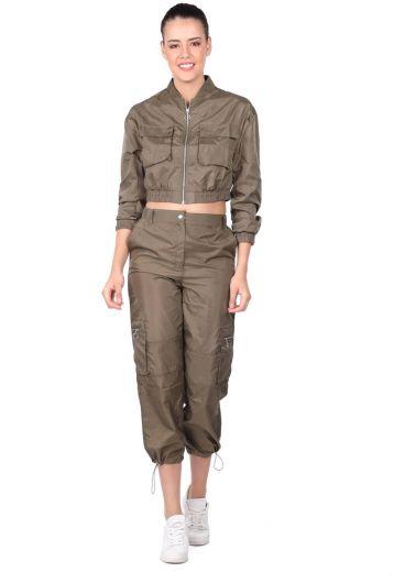 Women's Khaki Crop Bottom Top Tracksuit Set - Thumbnail