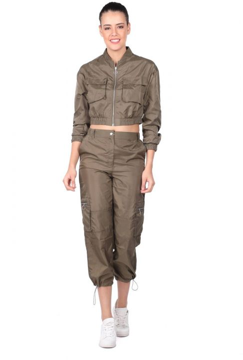 Women's Khaki Crop Bottom Top Tracksuit Set