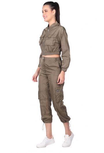MARKAPIA WOMAN - Women's Khaki Crop Bottom Top Tracksuit Set (1)
