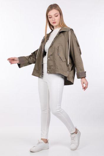 Women's Khaki Oversize Hooded Jacket - Thumbnail