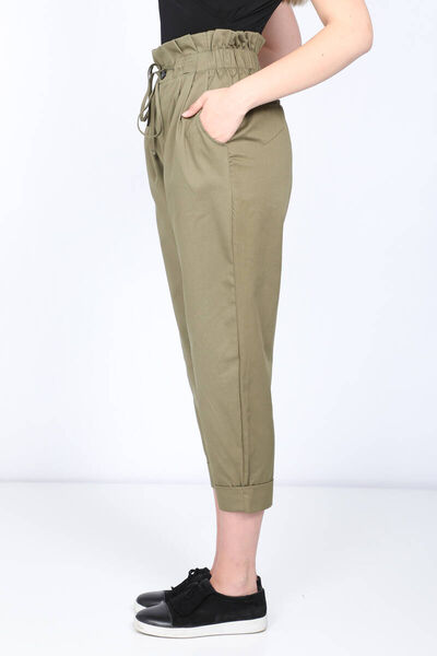 MARKAPIA WOMAN - Women's Khaki Paperbag Double Leg Trousers (1)