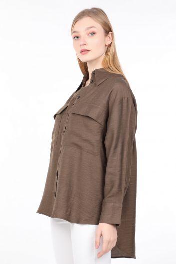 MARKAPIA WOMAN - قميص نسائي كاكي أساسي بجيوب (1)