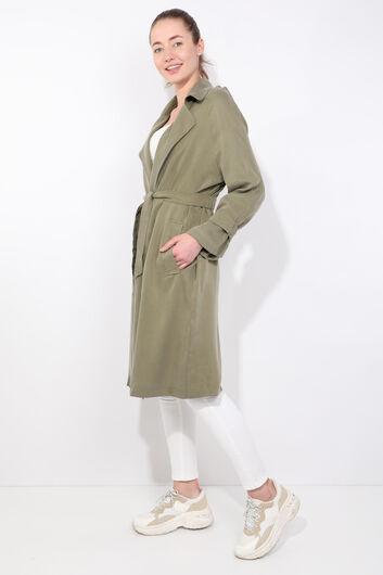 Women's Khaki Raglan Sleeve Trench Coat - Thumbnail