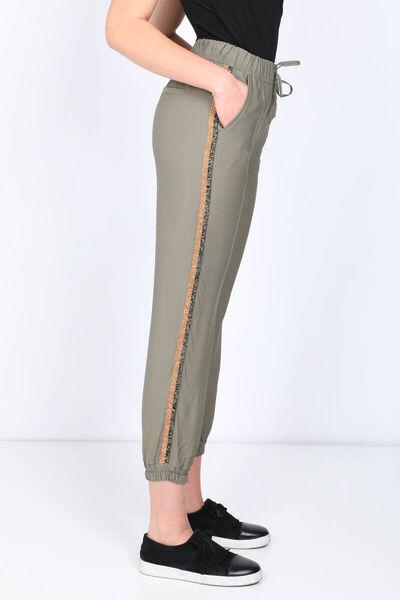 MARKAPIA WOMAN - Женские брюки-джоггеры с полосками по бокам цвета хаки (1)
