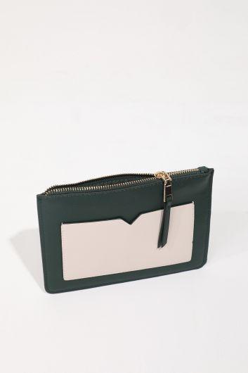 Women's Khaki Pocket Mini Hand Bag - Thumbnail