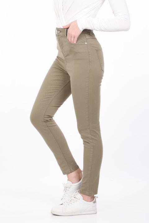 Женские узкие джинсовые брюки цвета хаки
