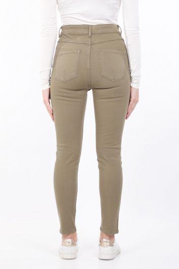 Женские узкие джинсовые брюки цвета хаки - Thumbnail