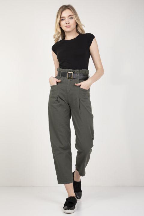 Women's Khaki Waist Gathered Belt Trousers