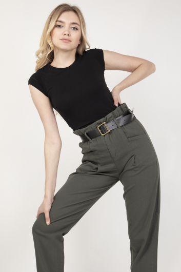 Women's Khaki Waist Gathered Belt Trousers - Thumbnail