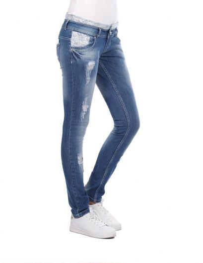 BLUE WHITE - Женские кружевные узкие джинсовые брюки с деталями (1)
