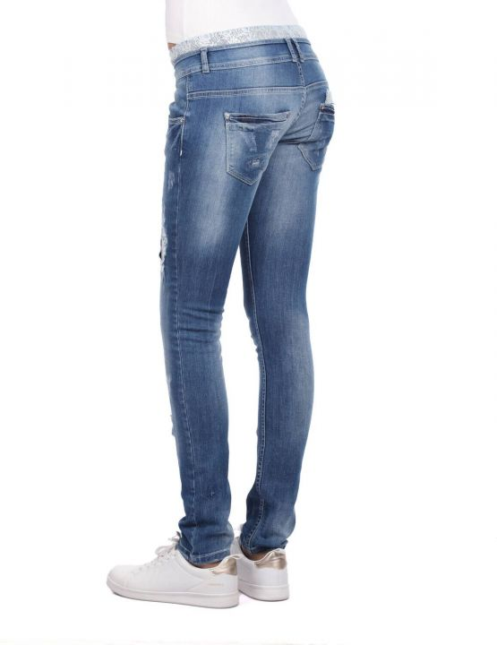 Женские кружевные узкие джинсовые брюки с деталями